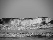 Large waves crashed on the shore