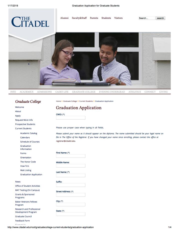 Graduation Application for Graduate Students